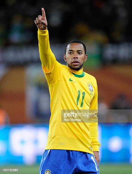 Robinho of Brazil gestures during the 2010 FIFA World Cup South Africa Group G match between Brazil and North Korea at Ellis Park Stadium on June 15,...