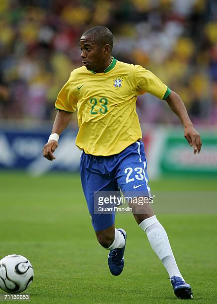Robinho of Brazil in action during the international friendly match between Brazil and New Zealand at the Stadium de Geneva on June 4, 2006 in...