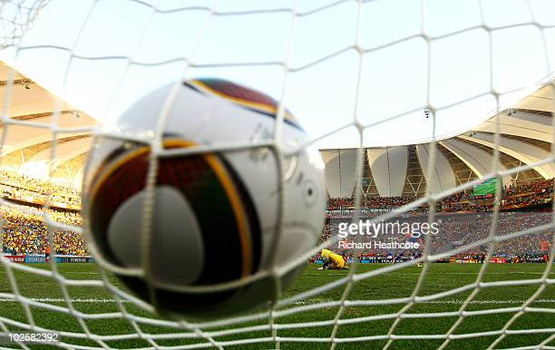 Robinho of Brazil scores the opening goal during the 2010 FIFA World Cup South Africa Quarter Final match between Netherlands and Brazil at Nelson...