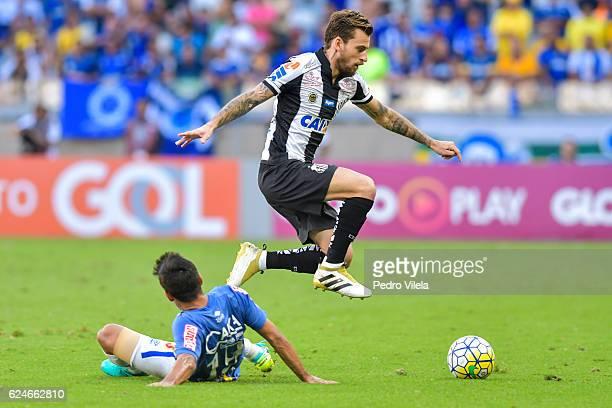 Robinho of Cruzeiro and Lucas Lima of Santos battle for the ball during a match between Cruzeiro and Santos as part of Brasileirao Series A 2016 at...