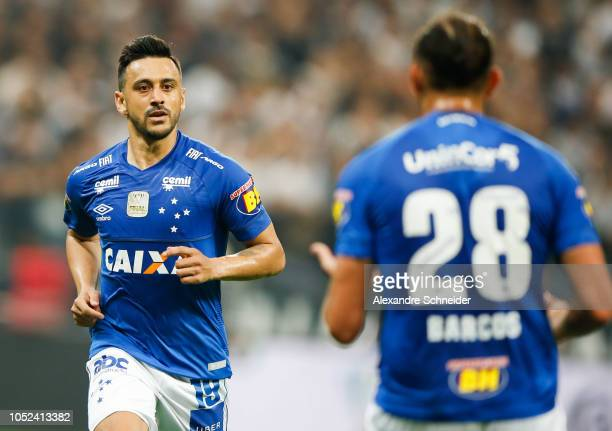 Robinho of Cruzeiro celebrates after scoring the first goal during the match against Corinthians for the Copa do Brasil 2018 at Arena Corinthians...