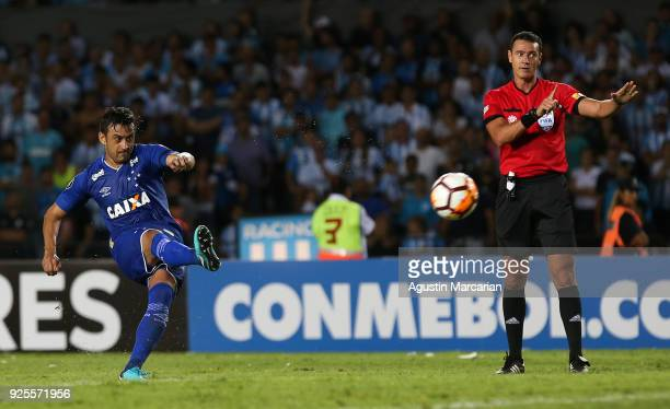 Robinho of Cruzeiro takes a free kick to score the second goal of his team during a Group E match between Racing Club and Cruzeiro as part of Copa...