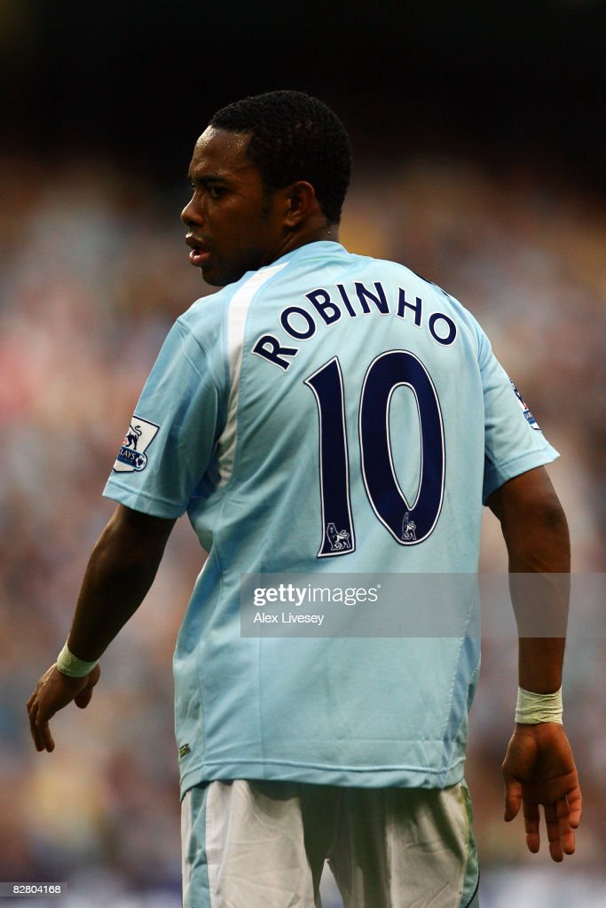 Robinho of Manchester City in action during the Barclays Premier League match between Manchester City and Chelsea at The City of Manchester Stadium on September 13, 2008 in Manchester, England.
