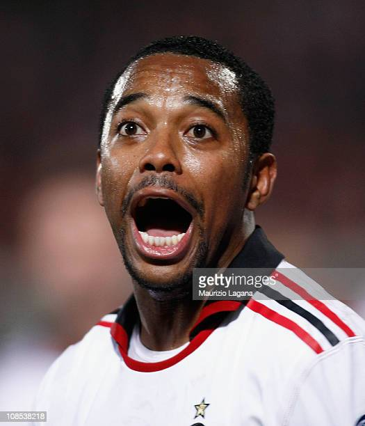Robinho of Milan celebrates after scoring his team's opening goal during the Serie A match between Catania Calcio and AC Milan at Stadio Angelo...