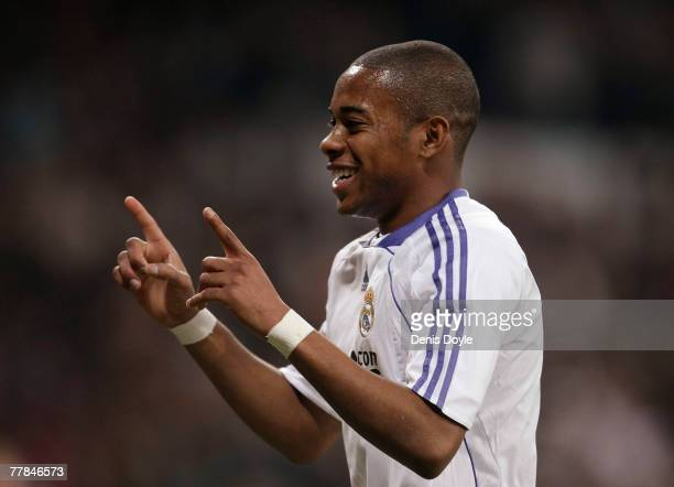 Robinho of Real Madrid celebrates after Real scored their third goal during the La Liga match between Real Madrid and Mallorca at the Santiago...