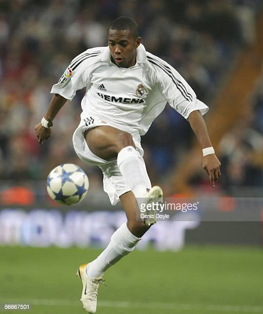 Robinho of Real Madrid controls the ball during a Copa del Rey quarter final second leg match between Real Madrid and Real Betis at the Santiago...
