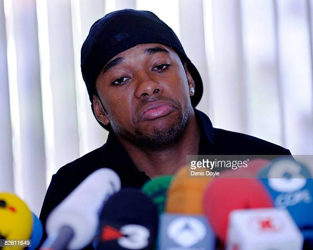 Robinho of Real Madrid holds a press conference at a Madrid hotel on August 31 2008 in Madrid Spain Robinho has been linked to a move to English club...