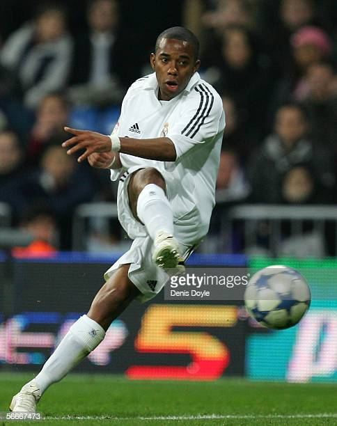Robinho of Real Madrid in action during a Copa del Rey quarter final second leg match between Real Madrid and Real Betis at the Santiago Bernabeu...
