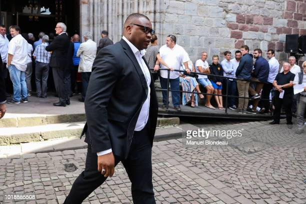 Robins Tchale Watchou is seen at the burial of Pierre Camou in Saint Jean Pied de Port during the Funeral of former rugby player Pierre Camou on...