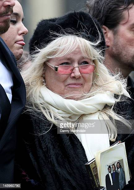 Robin's widow Dwina Murphy Gibb attends the funeral of Robin Gibb held at St. Mary's Church, Thame on June 8, 2012 in Oxford, England.
