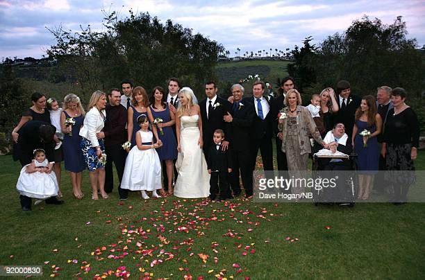 Robinson and Bedingfield family pose after the ceremony of singer Natasha Bedingfield and Matt Robinson held at Church Estate Vinyards on March 21...