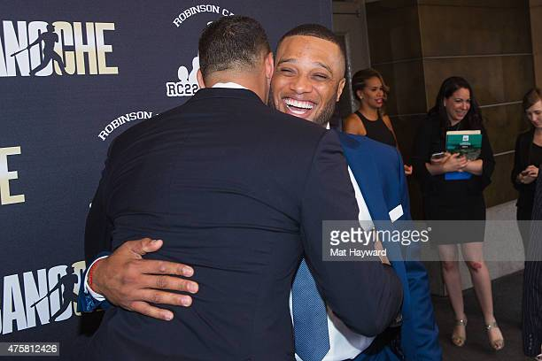 Robinson Cano and Alex Rodriguez attend the Canoche Benefit for the RC22 Foundation hosted by Robinson Cano at the Paramount Theatre on June 3 2015...