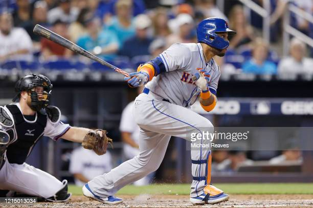 Robinson Cano of the New York Mets at bat against the Miami Marlins at Marlins Park on July 14 2019 in Miami Florida