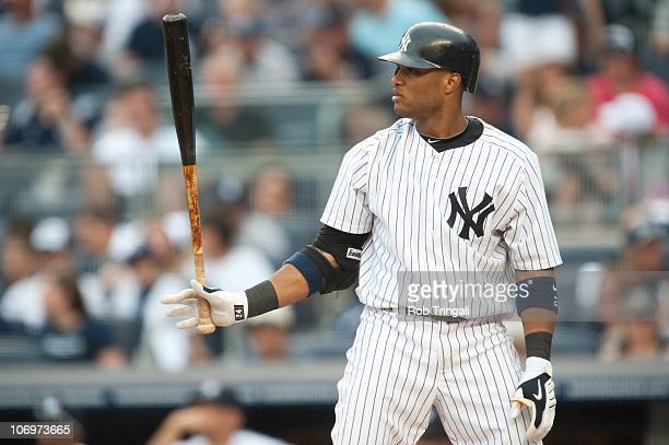 Robinson Cano of the New York Yankees bats against the Houston Astros at Yankee Stadium on June 13 2010 in the Bronx borough of New York City
