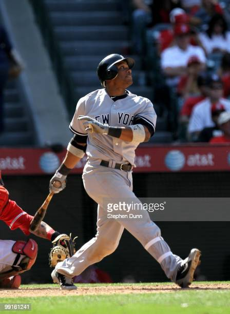 Robinson Cano of the New York Yankees bats against the Los Angeles Angels of Anaheim on April 24 2010 at Angel Stadium in Anaheim California The...