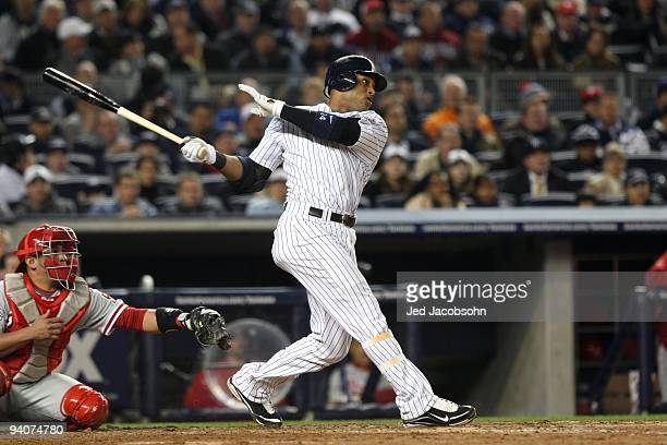 Robinson Cano of the New York Yankees bats against the Philadelphia Phillies in Game Two of the 2009 MLB World Series at Yankee Stadium on October 29...