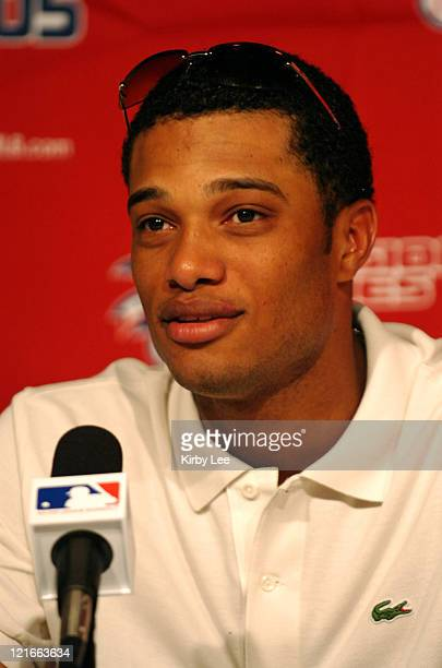 Robinson Cano of the New York Yankees during postgame press conference after 42 victory over the Los Angeles Angels of Anaheim in MLB Division Series...