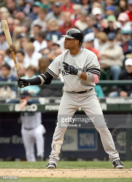 Robinson Cano of the New York Yankees gets ready to bat during the game against the Seattle Mariners on May 13 2007 at Safeco Field in Seattle...