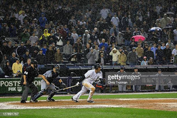 Robinson Cano of the New York Yankees grounds out in the ninth inning to end Game Two of the American League Division Series with a 53 loss to the...