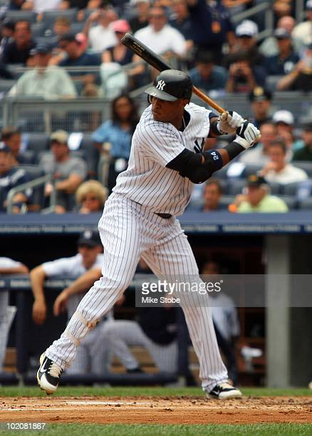Robinson Cano of the New York Yankees hits against the Houston Astros on June 12 2010 at Yankee Stadium in the Bronx borough of New York City