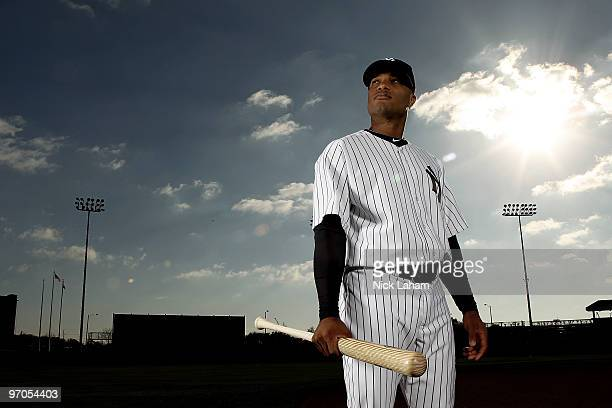 Robinson Cano of the New York Yankees poses for a photo during Spring Training Media Photo Day at George M Steinbrenner Field on February 25 2010 in...