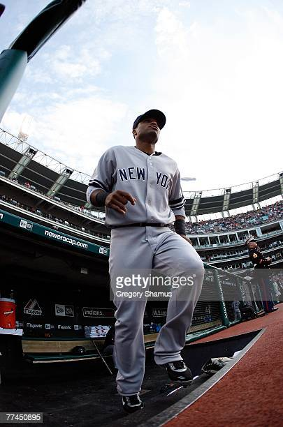 Robinson Cano of the New York Yankees takes the field against the Cleveland Indians during Game Two of the American League Divisional Series at...