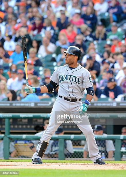 Robinson Cano of the Seattle Mariners bats during the game against the Detroit Tigers at Comerica Park on August 15 2014 in Detroit Michigan The...