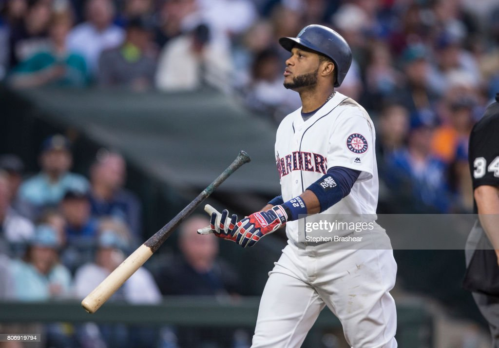 Robinson Cano #22 of the Seattle Mariners flips his bat after getting struck out by starting pitcher Ian Kennedy #31 of the Kansas City Royals during the sixth inning of game at Safeco Field on July 3, 2017 in Seattle, Washington.