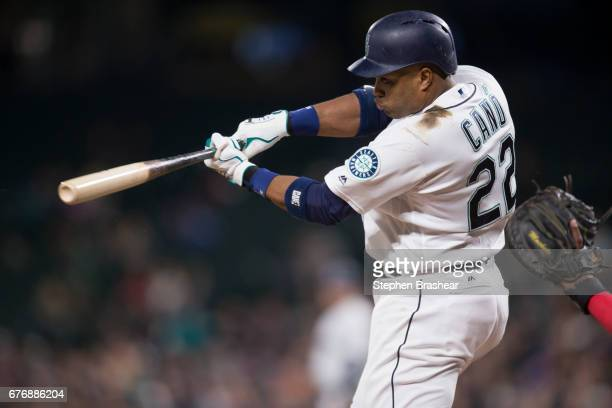 Robinson Cano of the Seattle Mariners hits an RBI single off of starting pitcher Matt Shoemaker that scored Jean Segura of the Seattle Mariners...