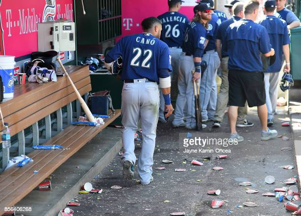 Robinson Cano of the Seattle Mariners leaves the dugout after the final out of the season and the game against the Los Angeles Angels of Anaheim at...
