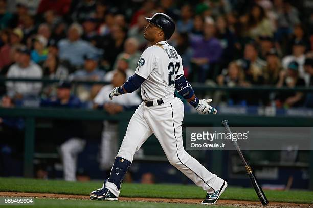Robinson Cano of the Seattle Mariners watches his threerun homer against the Boston Red Sox in the eighth inning at Safeco Field on August 2 2016 in...