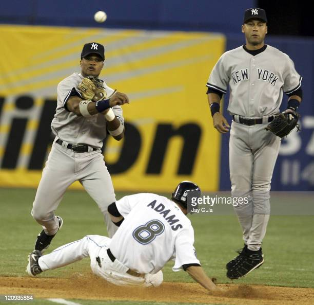 Robinson Cano throws to 1st to complete a double play in MLB action at Rogers Centre in Toronto on August 5 2005 New York downed Toronto 62