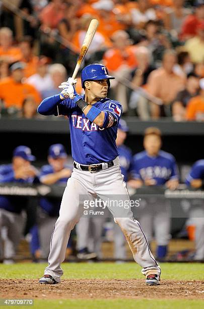Robinson Chirinos of the Texas Rangers bats against the Baltimore Orioles at Oriole Park at Camden Yards on June 30 2015 in Baltimore Maryland