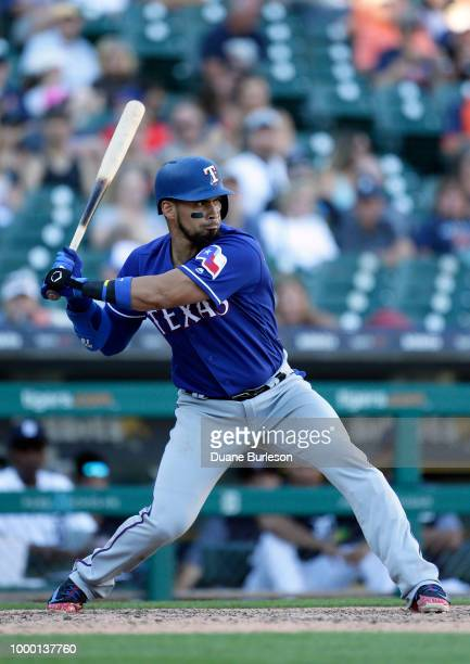 Robinson Chirinos of the Texas Rangers bats against the Detroit Tigers at Comerica Park on July 7 2018 in Detroit Michigan
