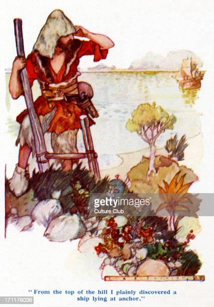 'Robinson Crusoe' by Daniel Defoe Crusoe discovering a ship at anchor Illustration by A E Jackson Published London Ward Lock Daniel Defoe English...