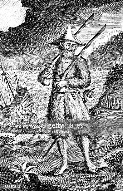 Robinson Crusoe c1719 Illustration from Daniel Defoe's The Life and Strange Surprizing Adventures of Robinson Crusoe of York Mariner the story of a...