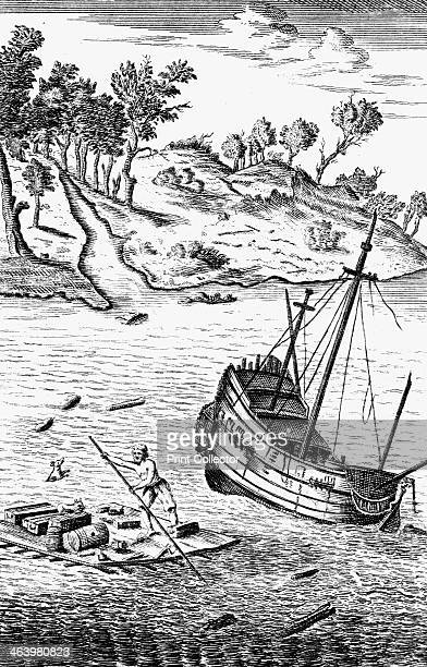 'Robinson Crusoe Saving His Goods out of the wreck of the Ship' c1719 Illustration from Daniel Defoe's The Life and Strange Surprizing Adventures of...