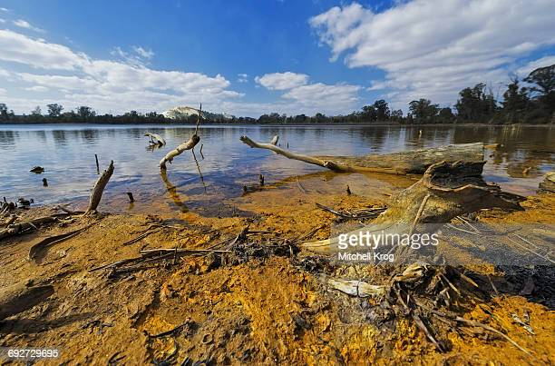 Robinson dam in Randfontein, South Africa contaminated and highly radioactive with uranium and iron pyrite from years of acid mine drainage. Randfontein, Gauteng Province, South Africa