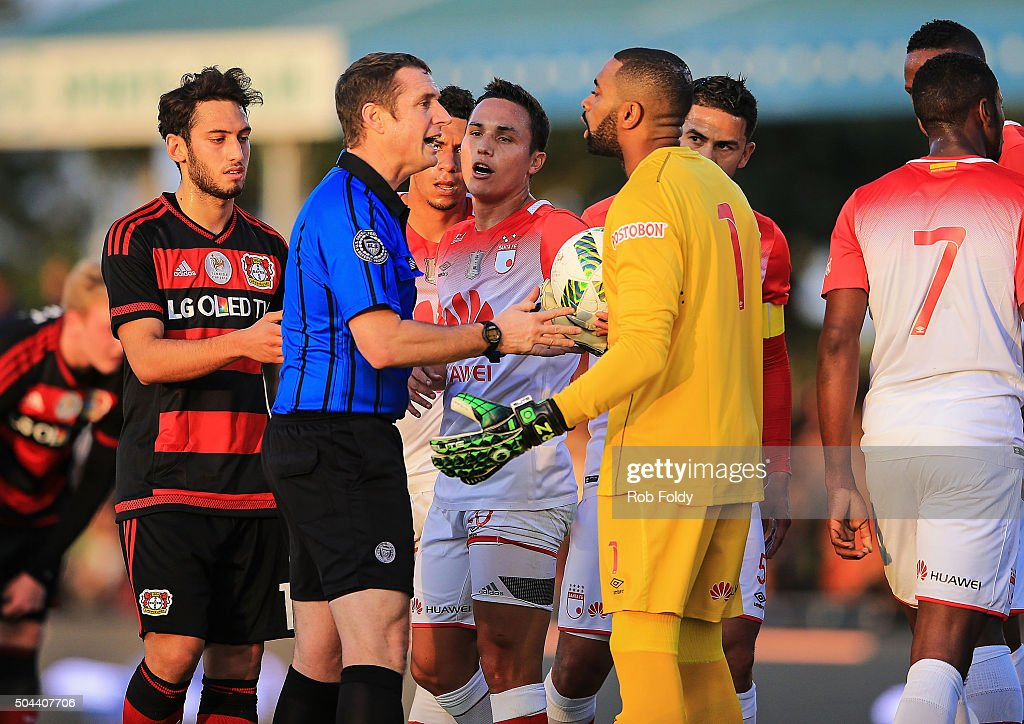 Robinson Zapata #1 of the Indepediente Santa Fe talks with an official during the match against Bayer Leverkusen at the ESPN Wide World of Sports Complex on January 10, 2016 in Kissimmee, Florida.