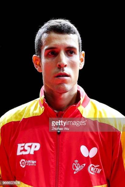 Robles Alvaro of Spain attend the award ceremony at the men's doubles final compete with Fan Zhendong and Lin Gaoyuan of China during the 2018 ITTF...