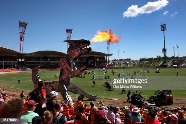 Robosaurus a five storey, 27 tonne robot performs in the main arena at the Royal Easter Show at the Sydney Showground on April 1, 2010 in Sydney,...