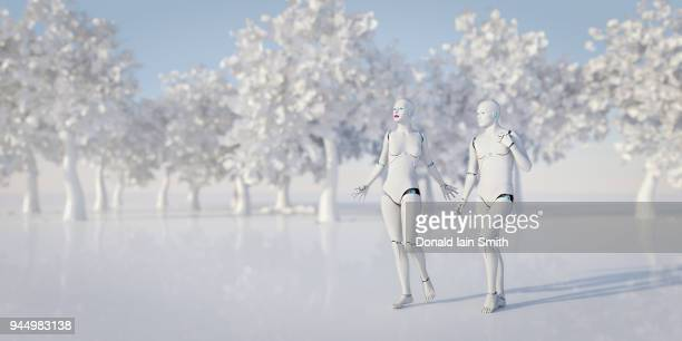 Robot Adam and Eve in white garden of Eden