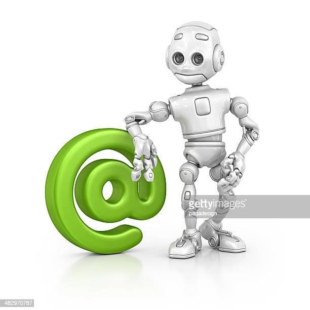 robot and 'at' symbol