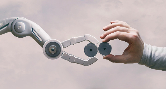 Robot And Human Hand with Gears 1220591821