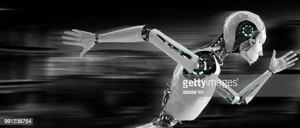 robot android woman running