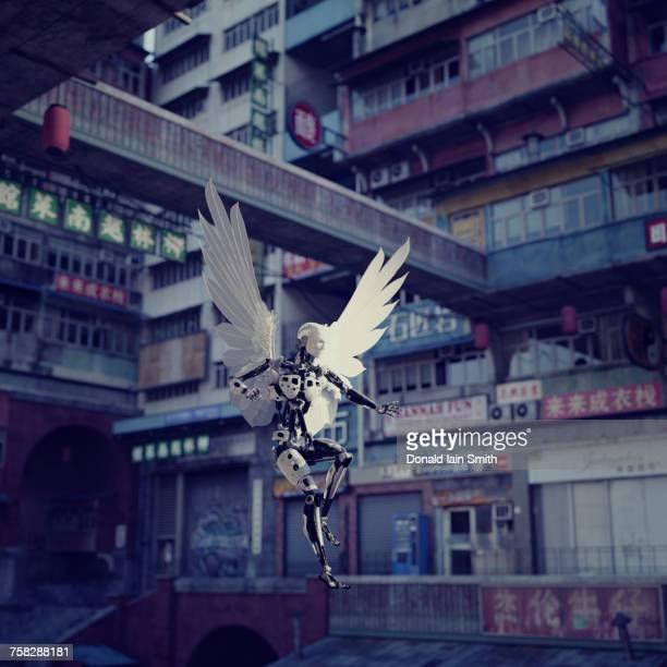 Robot angel in futuristic city