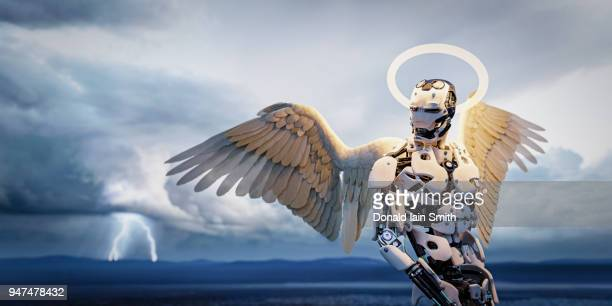 Robot angel with glowing halo and wings in lightning storm