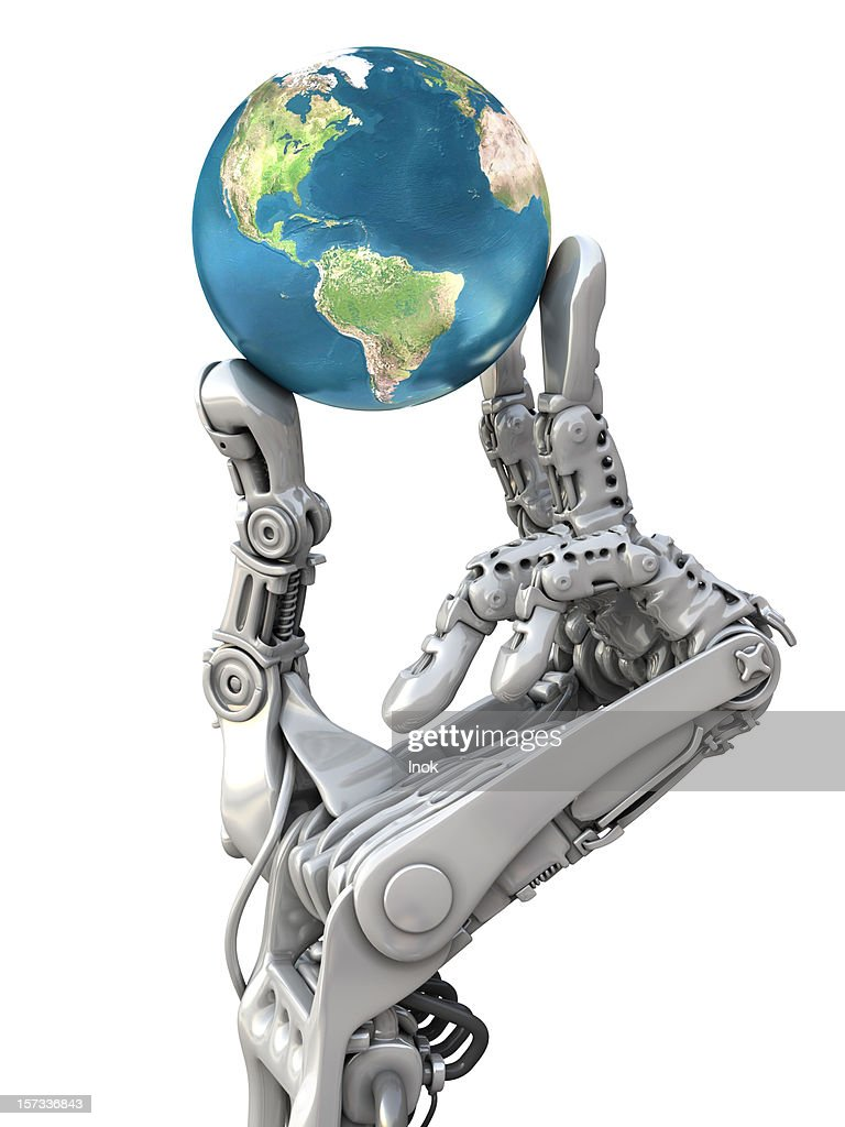 Robot arm and earth globe : Stock Photo