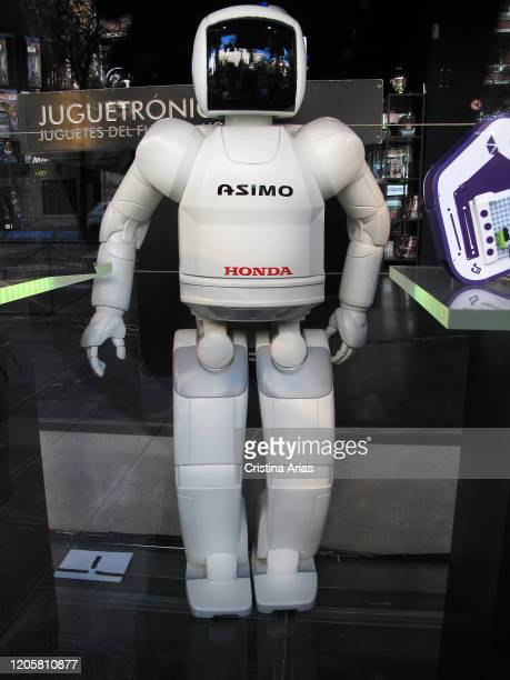 Robot Asimo by Honda in the shop window of Juguetronica shop in Madrid, Spain.
