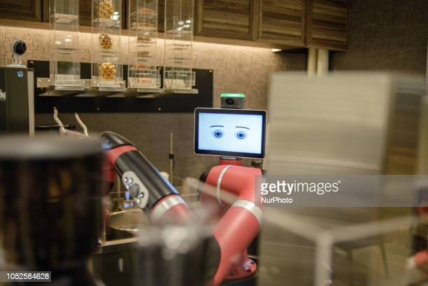 A robot barista to serve coffee at Henn na Cafe Shibuya district Tokyo Japan in October 2018
